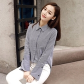 長袖襯衫-前短後長條紋喇叭袖休閒女上衣2色73py16【巴黎精品】