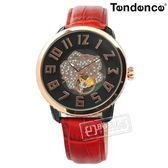 Tendence 天勢表 / TY492002 / 機械錶 自動上鍊 珍珠母貝 玫瑰花朵 防水 真皮手錶 黑x玫瑰金框x紅 46mm