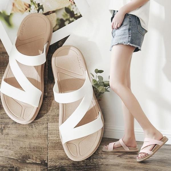 平底拖鞋 新款涼拖鞋休閑百搭涼鞋女時尚平底羅馬風學生拖鞋女夏公主鞋百搭 薇薇