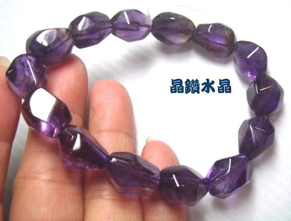 『晶鑽水晶』天然紫黃晶手鍊~早期商品亮透度超棒 大 37公克~男女皆適合配戴*免運
