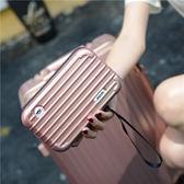 簡約迷你化妝包小號便攜韓國可愛洗漱包硬殼防水小箱包多層化妝箱