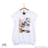 【INI】休閒自在、簡約印花柔軟長版上衣.白色