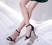 女夏季2018新款韓版百搭性感細跟黑色一字扣露趾涼鞋   YI88  【123休閒館】