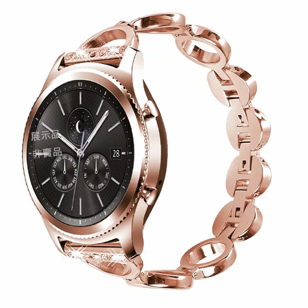三星 錶帶 Gear S3 圓形鏤空錶帶 三星錶帶 金屬錶帶 鑲鑽錶帶