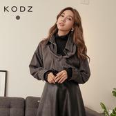 東京著衣【KODZ】韓國同步高領拼接條紋襯衫假兩件上衣(191951)