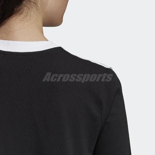 adidas 長袖T恤 3 Stripes Tee 黑 白 女款 運動休閒 【ACS】 DV2608
