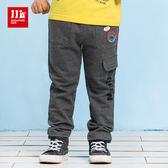 JJLKIDS 男童 大口袋鯊魚休閒棉褲(深麻灰)