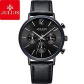 JULIUS 聚利時 城市之耀三眼皮革錶帶腕錶-黑旋風/40mm【JAH-101D】