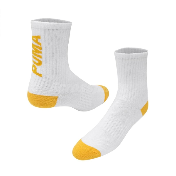 Puma 襪子 Classic Sock 黃 白 長襪 經典款 Logo 運動 台灣製【ACS】 BB1308-01