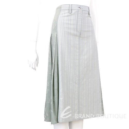 TREND綠色拼接百褶及膝裙 0510394-36