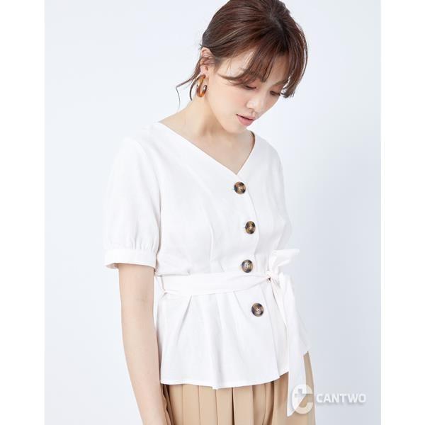 【南紡購物中心】CANTWO腰肩綁帶排釦亞麻上衣-二色-乳白