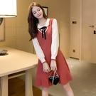 第二件4折 韓系收腰顯瘦蝴蝶結娃娃領撞色針織長袖洋裝