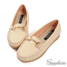 莫卡辛鞋 簡約金飾軟底休閒鞋-米