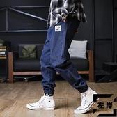 大碼工裝牛仔褲男寬鬆秋冬休閒束腳長褲【左岸男裝】