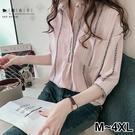 【QV2663】魔衣子-前口袋寬鬆顯瘦七分袖襯衫上衣