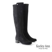 ★2019秋冬★Keeley Ann極簡魅力 異材拼接低跟膝上靴(黑色) -Ann系列