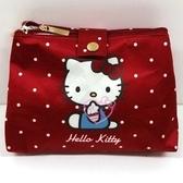 小花花日本精品HelloKitty深紅色點點造型附鏡化妝包小物包萬用包紙巾包防潑水耐用好清洗58708200