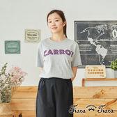 【Tiara Tiara】百貨同步  英字簡約印象風短袖棉T(灰/黑)