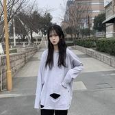長袖T恤 秋季新款韓版網紅寬鬆白色女超火打底衫上衣ins潮 - 雙十二交換禮物
