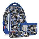 【TigerFamily】小精靈超輕量護脊書包-灰藍幾何(含文具袋+鉛筆盒)