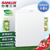 雙喬嚴選  【SANLUX台灣三洋】45L單門小冰箱。珍珠白 SR-B45A5