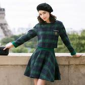 OL套裝(裙裝)毛呢料-英倫風復古浪漫格紋女兩件式套裝2色72j2[巴黎精品]