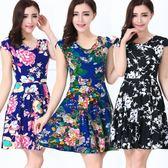 夏季中老年時尚牛奶絲堆堆領大擺裙修身顯瘦短袖中年媽媽連身裙 【東京衣秀】