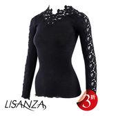 LISANZA-長袖S羊毛蠶絲內搭衣(黑)L114370