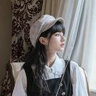 網紅八角帽格紋學院風報童帽秋冬款韓版日系複古貝雷帽女