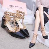 售完即止-高跟鞋 尖頭高跟鞋時尚鉚釘涼鞋性感T型扣帶顯瘦細跟女鞋子庫存清出(9-27T)