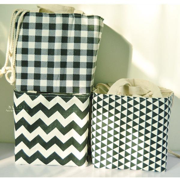 簡約波浪線條棉麻野餐保溫包束口款 便當袋 保溫 束口袋 野餐袋 午餐提袋