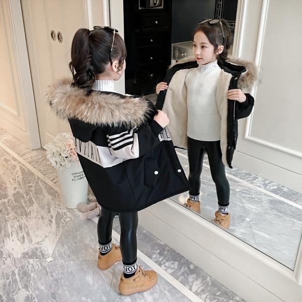 大毛領韓版外套中大童上衣 加絨棉服洋氣兒童夾克外套 潮流女童外套女棉衣 羽絨外套秋冬羽絨服