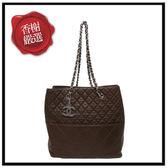 CHANEL羊皮格紋銀鍊直式肩背包/咖啡色chanelbag香奈兒包包二手商品