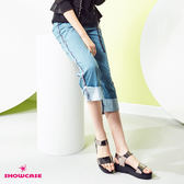 【SHOWCASE】個性運動風織帶反褶寬口七分牛仔褲(藍)