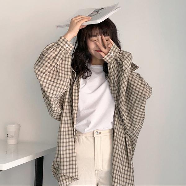 (免運)DE shop - 原宿風長袖防曬薄款格子襯衫 - T-882