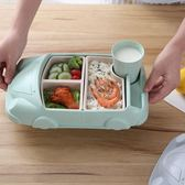 竹纖維寶寶餐盤分格兒童餐具分隔小孩吃飯碗卡通汽車家用防摔套裝 青木鋪子