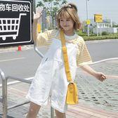 韓版牛仔吊帶短褲女學生大碼胖mm寬鬆寬管吊帶連身褲子 格蘭小舖