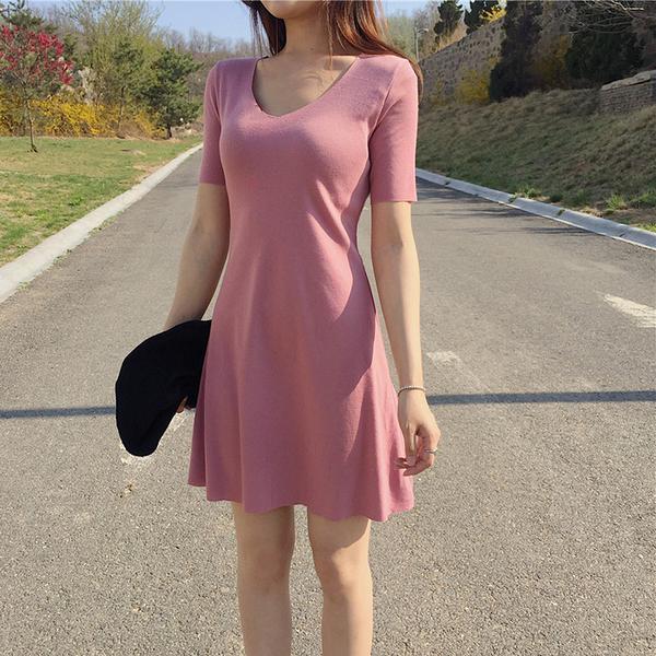 [超豐國際]夏季短袖收腰純色簡約氣質連衣裙女裝A字裙修身顯瘦1入