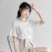 拼蕾絲T恤~ 白色短袖t恤女蕾絲拼接設計感小眾ins潮寬鬆韓版小心機溫柔風上衣