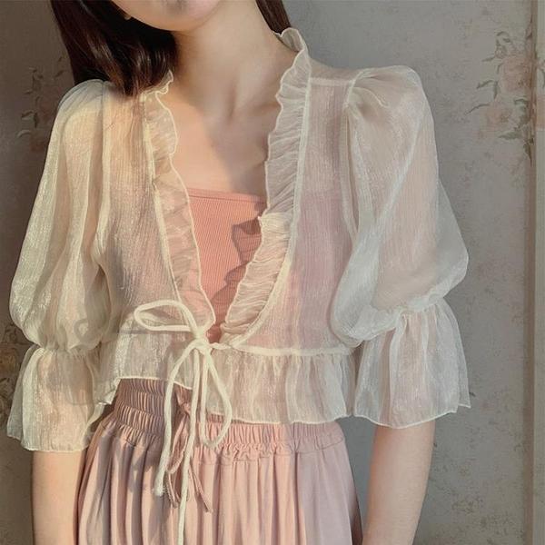 超仙雪紡小披肩吊帶裙子罩衫