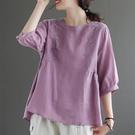 棉麻短袖T恤女夏季新款寬松大碼文藝復古民族風刺繡圓領亞麻上衣