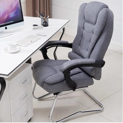布藝弓形電腦椅家用職員辦公椅真皮老闆椅可躺午休按摩椅美容椅子 MKS 交換禮物