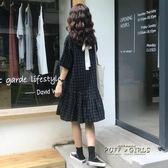 夏裝女裝韓版中長款寬鬆顯瘦小清新繫帶蝴蝶結格子短袖洋裝長裙