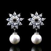 耳環 925純銀 鑲鑽-耀眼大方生日情人節禮物女飾品73hz15【時尚巴黎】