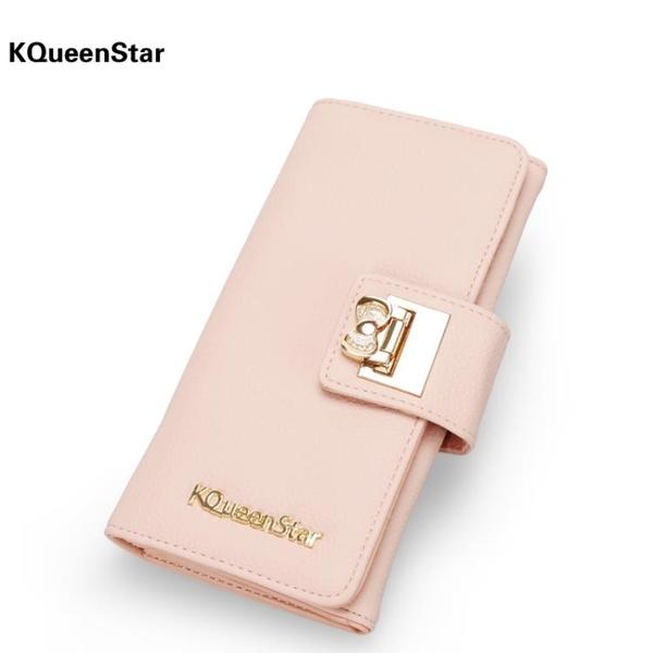 KQueenStar女士錢包 女長款日韓拉鏈小清新簡約搭扣學生錢夾皮夾