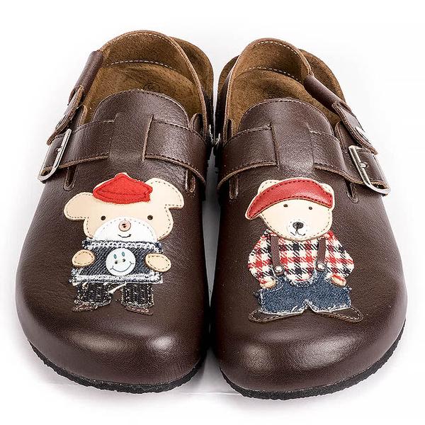 【Jingle】大熊先生與豬小弟前包後空軟木休閒鞋(質感咖經典白大人款)