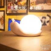 小夜燈嬰兒喂奶護眼充電式LED夜光燈可愛蝸牛藍牙音響臥室床頭燈 京都3C