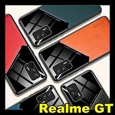 【萌萌噠】Realme GT 簡約拼接鏡面皮紋 內置隱形磁吸鐵片 全包防摔軟殼 手機殼 手機套