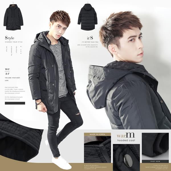 。SW。免運 正韓 韓國製 禦寒保暖厚鋪棉 質感防潑水布 防水拉鍊 雙層連帽 中長版外套【K71278】
