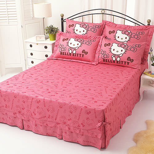 【享夢城堡】HELLO KITTY 我的小可愛系列-精梳棉單人床包涼被組(粉)(紅)